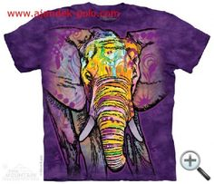 T-Shirts The Mountain Russo Elephant Purple Tusks Colorful Big Face T Tee Shirt 3d T Shirts, T Shirts For Women, Jumper, Purple Elephant, Tribal Elephant, Elephant Shirt, Elephant Face, Big Face, Sport