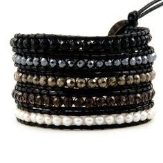 Chan Luu White Pearl Mix Wrap Bracelet on Black Leather