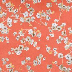 Braemore Sakura Kumquat Fabric | OnlineFabricStore.net