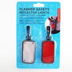 Safety Flasher Reflector Lights LED Bike Tag Hiking Jogging Pet 2 Pc Fast Slow #Kikkerland