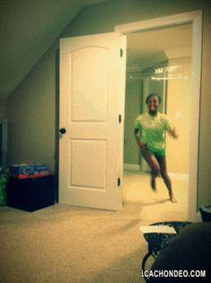 boy runs into plastic wrap | 24 Hilarious April Fools Pranks That Will Make You Laugh Out Loud