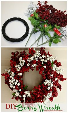 Dollar Store Holiday Berry Wreath Would you ever guess this beauty was made using dollar store supplies! Amazing and elegant does not have to be expensive! Get the full tutorial! Wreath Crafts, Diy Wreath, Christmas Crafts, Christmas Decorations, Wreath Fall, Christmas Music, Christmas Movies, Holiday Decorating, Christmas Snowman