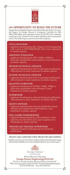 Vacancies In Civil Industry at George Steuart Engineering Engineering Careers, Civil Engineering, Assistant Engineer, Civilization, Advertising
