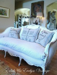 French Country Sofa, French Sofa, French Farmhouse, French Chairs, Antique Farmhouse, Farmhouse Style, Antique Sofa, Vintage Sofa, Antique French Furniture