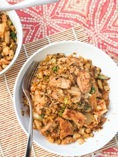 Kimchi fried cauliflower rice with lean pork loin. A low-carb version of the classic Korean comfort dish.