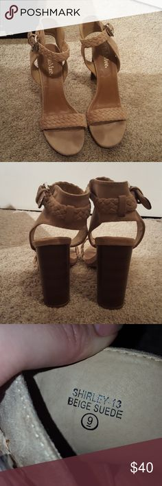 NOT STEVE MADDEN, chunky heels Made by Bella Marie. Wooden chunky heels with a taupe braided toe strap and taupe colored buckle around the ankle, love these and they have been worn well. Super easy to walk in! Size 9. Offers?!?!?! Steve Madden Shoes Heels