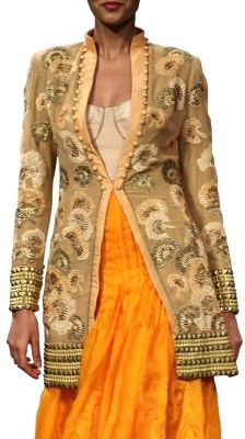 Delonix Regia Motif Embroidered Jacket | Strandofsilk.com - Indian Designers