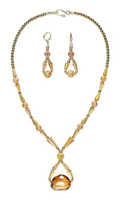 Jewelry Design - Single-Strand Necklace and Earring Set with Celestial Crystal® Beads and Gold-Plated Brass Beads - Fire Mountain Gems and Beads