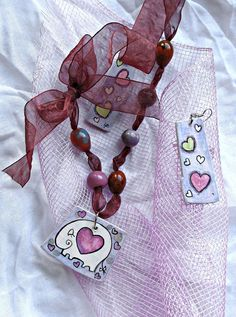 Hand painted wooden jewelry set  Elephant in love by AHouseAtelier, $55.00