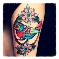 Heart Pretty Flowers Flower Tattoos Flower And Birds Tattoo Tattoo Girly Tattoos, Trendy Tattoos, Love Tattoos, Beautiful Tattoos, New Tattoos, Body Art Tattoos, Tattoos For Guys, Tattoos For Women, Tatoos