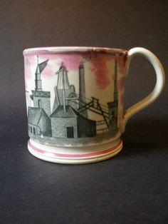 A Rare Coal Mining Lustre Mug c.1840 £480.00   Sharp Antiques Antique Pottery, Coal Mining, Watercolor And Ink, Luster, Levis, Period, 18th, Ceramics, Mugs