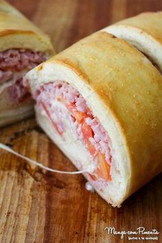Pão Caseiro Recheado com Presunto e Tomate
