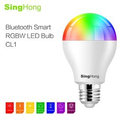 SingHong 7.5W 600LM E26/E27 Smart RGB & White RGBW 16 Million Colors LED Bluetooth Bulb Light Lamp Brightness Adjustable Smartphone App Control Multicolored Illuminative Indoor Use