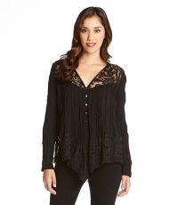 Lace Inset Crushed Blouse