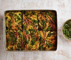 Yotam Ottolenghi's kale pesto strata with gruyère and mustard. Veg Recipes, Sausage Recipes, Vegetarian Recipes, Cooking Recipes, Vegetarian Christmas Recipes, Budget Cooking, Delicious Recipes, Chicken Recipes, Dinner Recipes