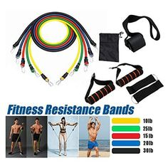11 Pcs Fitness Resistance Bands | 2020Bandify Resistance Band Training, Body Training, Resistance Band Exercises, Resistance Tube, Home Gym Exercises, Gym Workouts, At Home Workouts, Fitness Exercises, Pilates Abs