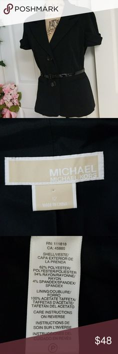 Michael Kors Blazer Very elegant and classy black Michael Kors blazer  Very pretty short sleeve design One pocket on each aide. Never been use ( still stitched) Close with two Michael Kors buttons Comes with Michael Kors belt  Minimal wear Excellent condition Michael Kors Jackets & Coats Blazers