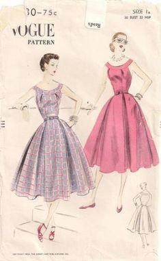 1950's Banded neckline dress pattern