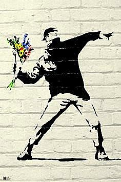 A fantastic poster of graffiti street art by the mysterious Banksy - This Flower Thrower has the right idea! Check out the rest of our excellent selection of Banksy posters! Need Poster Mounts. Banksy Graffiti, Street Art Banksy, Banksy Posters, Arte Banksy, Banksy Artwork, Bansky, Dorm Posters, Sports Posters, Wall Posters