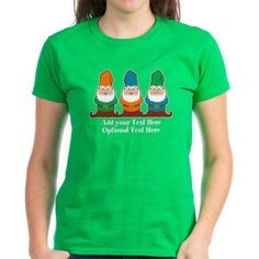 Cafepress Personalized Gnomes Design Women's Dark T-Shirt, Size: Small, Green