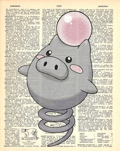 Spoink Pokemon Dictionary Art Print by MollyMuffinsPrints on Etsy