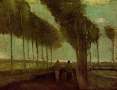 Country Lane with Two Figures. Vincent van Gogh. Download painting.