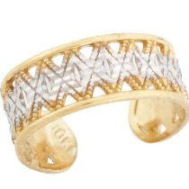 14k Solid Two Tone Gold Filigree Diamond Cut Toe Ring