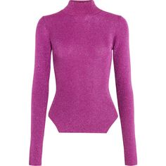 Mugler Metallic ribbed stretch-knit turtleneck sweater (685 BAM) ❤ liked on Polyvore featuring tops, sweaters, fuchsia, purple sweater, polo neck sweater, rib sweater, metallic top and metallic turtleneck