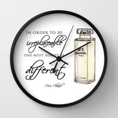 Chanel No.5 Quote Wall Clock