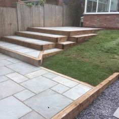 From Around the Web: 20 Fabulous Infographics About white porcelain paving Landscape Stairs, Backyard Garden Landscape, Porch Garden, Small Backyard Landscaping, Backyard Patio, Paving Stone Patio, Outdoor Paving, Garden Paving, Paving Stones