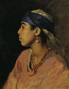 Leopold Carl Müller, Ägyptische Sängerin, Öl auf Leinwand, 46 x 36 cm, Belvedere, Wien, Inv.-Nr. 241\n