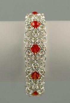 Romanov Beaded Chain Mail Bracelet by AnneGregoryJewelry on Etsy