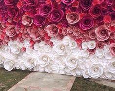 Telón de fondo - gran papel flores - telón de fondo de flores de papel - boda recepción decoración - despedida de soltera decoración - fondo Floral de la boda