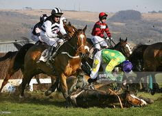 Ruby Walsh (R) falls from French horse Kauto Star while Moscow Flyer (L) ridden by Barry Geraghty (L) tries to avoid him during The Queen Mother Champion Steeple Chase on the second day of The Cheltenham Festival, 15 March 2006. Newmill ridden by Andrew McNamara won the race, with Fota Island in second and Mister McGoldrick in third. The Festival runs through Friday culminating with the big race, The Cheltenham Gold Cup on the final day.