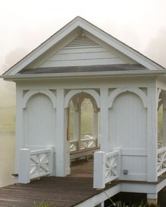 I would love a white farm house, blue shutters and all, American flag, and then you walk into the backyard or side of the house and there is a small lake or pond with this beautiful structure. Romantic Places, Beautiful Places, Outdoor Spaces, Outdoor Living, Dock House, Grandma's House, Farm House, Architecture Details, Outdoor Gardens