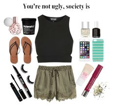 """Your not ugly, society is☝"" by unicornshadows ❤ liked on Polyvore featuring H&M, Topshop, Benefit, Bourjois, Abercrombie & Fitch, Maybelline, Kate Spade, Essie and Nails Inc."
