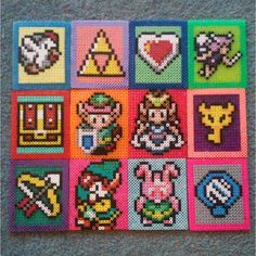 Legend of Zelda coaster set perler beads by kung.foy