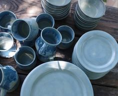 Glacier Morning Dinnerware Set- Handmade Stoneware Pottery- Icy Blue Plates and Bowls- 4 & Eclectic Dinnerware Set of 6 Place Settings in Slate Blue - Made to ...