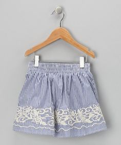 Take a look at this Blue Stripe Embroidered Skirt - Toddler & Girls by Trish Scully Child on #zulily today!