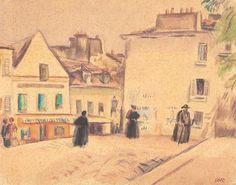 Plaza in Montmartre - Iosif Iser Draw, Image, Paintings, Artists, Prints, Drawings, Paint, To Draw, Painting Art