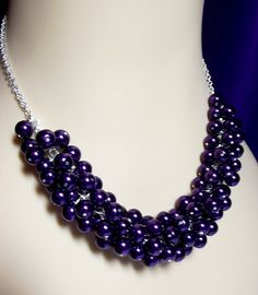 Dark Purple Pearl Cluster Necklace Wedding by DelaneyJeanJewelry