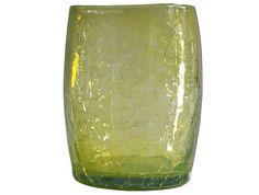 Verre à eau ou à whisky jaune en verre soufflé 3