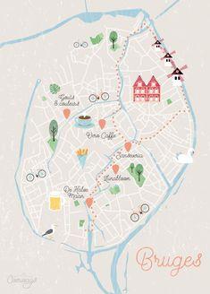 Carte de Bruges illustrée - Överways.fr