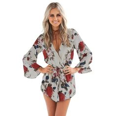 7f7f0f3b56cc New AZULINA Summer New Boho Red Floral Print Casual Jumpsuit Short Romper  Ladies V Neck Women Playsuit Loose Beach Chiffon Overalls
