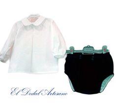 Conjunto bebé pantalón-braguita en terciopelo y camisa