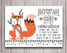 baby shower invitations feather theme  | Fox Pow Wow Tribal Birthday Party I nvitation Printable, Boho 1st ...