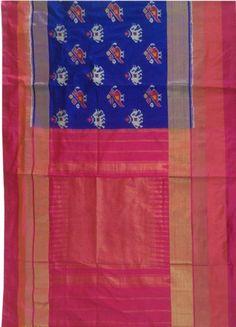 ikat royal blue saree