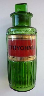 Antique green glass Pharmacy Bottle