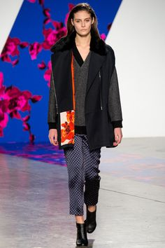 Thakoon Fall 2014 RTW. #Thakoon #Fall2014 #NYFW fur collar vest jacket. layering. grey. lining interest. polka dot silk trousers. sleepwear.