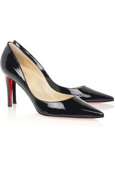 Christian Louboutin. Sexy patent pointy toe black pumps.